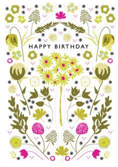 Rebecca Prinn - Dotty Floral Birthday Pattern Greeting Card