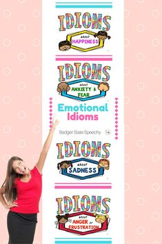 Social skills and speech therapy.   Emotion idioms:  24 different idiom posters/teaching mats depicting anger/frustration, sadness, happiness and anxiety/fear.  Use as bulletin board displays or lessons.  Includes tiered game cards, worksheets and more!