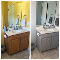 Before And After Bathroom Cabinet, Valspar Chalky Paint In Woolen  Stockings. (Walls Sherwin