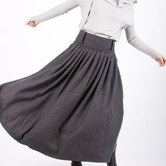 Look at the belting options on this skirt - for fall.  Dark grey woolen long skirt E61370699 by xiaolizi on Etsy, $79.00