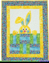 Peek-A-Boo Bunny quilt pattern makes a quick, easy baby quilt or Easter wall hanging with easy machine applique and fusible web. by Karen Grof for Happy Apple Quilts Quilting Projects, Quilting Designs, Baby Quilts To Make, Cot Quilt, Quilt Baby, Baby Quilt Patterns, Kids Patterns, Quilting Patterns, Animal Quilts