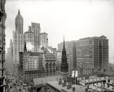 """New York circa 1910. """"Looking down Broadway from the Post Office. Singer, City Investing and Hudson Terminal Buildings."""" Detroit Publishing"""