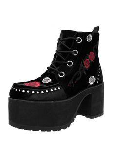 TUK Shoes Black Velvet Rose & Snake Nosebleed Boot | Attitude Clothing