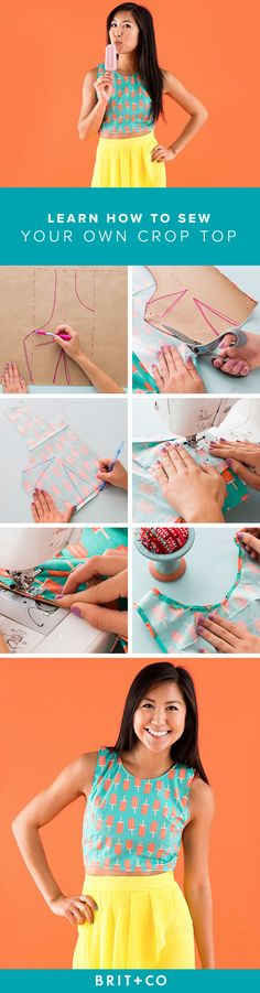 You Can Make Your Own Crop Top Hone your sewing skills with this crop top DIY tutorial.Hone your sewing skills with this crop top DIY tutorial. Sewing Projects For Beginners, Sewing Tutorials, Sewing Crafts, Sewing Tips, Sewing Hacks, Basic Sewing, Diy Projects, Diy Clothing, Sewing Clothes