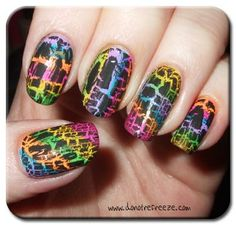 Rainbow Stripes with Crackle - She's addicted to neons, rainbow colors, and has several colors of crackle polish.