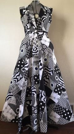 Make a Scene! Reversible African Wax Print Coat Dress Patchwork in Black and White and Your Choice of Reverse Print
