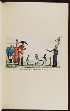 1814.Les marionettes du jour-Napoleon Bonaparte premier consul s'est rendu à Notre Dame pour y entendre la Sainte Messe célé.French political cartoon; Bodleian Libraries,Arthur Wellesley, 1st Duke of Wellington.Louis XVIII of France.