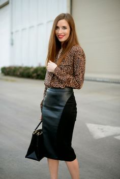 Edgy office attire...I like the skirt, couldn't get away with it at work. Otherwise this is perfect in every way