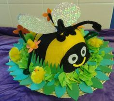 What a lovely idea for an Easter Bonnet or Easter Hat Easter Bonnets For Boys, Easter Crafts For Kids, Easter Ideas, Crazy Hat Day, Crazy Hats, Easter Hat Parade, Spring Hats, Easter Activities, Preschool Ideas