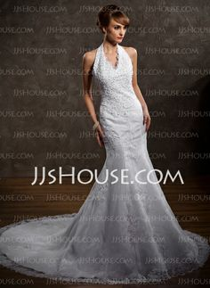Wedding Dresses - $185.99 - A-Line/Princess Halter Chapel Train Satin  Tulle Wedding Dresses With Lace  Beadwork (002000297) http://jjshouse.com/A-line-Princess-Halter-Chapel-Train-Satin-Tulle-Wedding-Dresses-With-Lace-Beadwork-002000297-g297