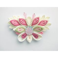 Pink Ivory butterfly hair clip/Kanzashi hair clip/ Butterfly hair... ❤ liked on Polyvore featuring accessories, hair accessories, butterfly hair accessories, pink flower hair clip, ribbon hair clips, barrette hair clip and butterfly hair clips