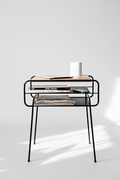 Nightstand / Bedside Table, Black Lacquered Iron And Oak, Mid-century, Modern…