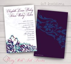 Peacock Kisses Party/Wedding Invitations for Your Special Event (Shown in Blue/Plum/Teal) by PrettyWithInkInvites on Etsy https://www.etsy.com/listing/114744199/peacock-kisses-partywedding-invitations