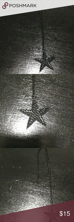 🌟 unisex star necklace All black star necklace with all black chain Jewelry Necklaces