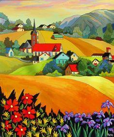 Charme rural by Louise Marion of Valleyfield, Quebec Landscape Quilts, Landscape Art, Landscape Paintings, Art Paintings, Art Fantaisiste, Art Et Illustration, Arte Popular, Colorful Paintings, Naive Art