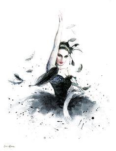 Acuarela bailarina Natalie Portman cisne negro por sookimstudio