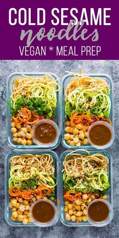 These cold sesame noodle meal prep bowls are the perfect vegan prep ahead lunch: spiralized vegetables tossed with chickpeas and whole wheat spaghetti in a spicy almond butter sauce. vegan meal prep, healthy meal prep, Previous Post Next Post Vegetarian Meal Prep, Lunch Meal Prep, Meal Prep Bowls, Healthy Meal Prep, Vegetarian Recipes, Healthy Eating, Healthy Recipes, Healthy Lunches, Clean Eating