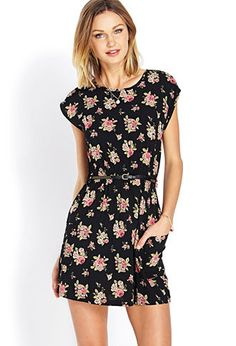Rosebud Fit & Flare Dress w/ Belt | FOREVER21 - 2000107300. Would be really cute with some white stockings!