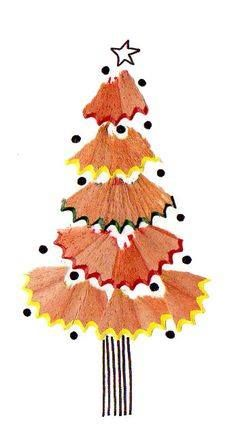 Sharpen those pencils – and not just to draw with! Use the shavings to create your own Christmas tree design. Diy And Crafts, Christmas Crafts, Crafts For Kids, Arts And Crafts, Christmas Decorations, Christmas Ornaments, Pencil Shavings, Navidad Diy, Noel Christmas