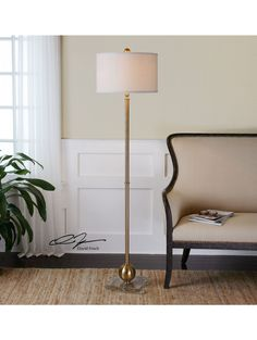 Mora Brass Sphere Floor Lamp
