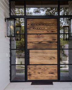 House entrance design entryway garage Ideas for 2019 Modern Entrance, Modern Front Door, House Front Door, Front Door Design, Entrance Design, Glass Front Door, House Entrance, Entrance Doors, Wood Glass Door