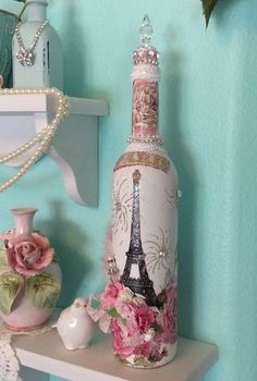 altered bottle Paris shabby chic tall wine by lilhoneysshoppe