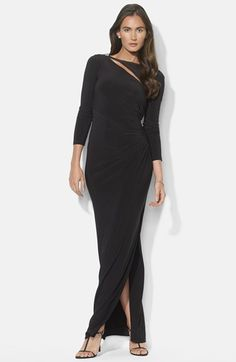 Free shipping and returns on Lauren Ralph Lauren Cutout Matte Jersey Gown at Nordstrom.com. A glittering brooch calls attention to the front and back cutouts contemporizing a long-sleeve gown. Fluid shirring slims the waistline and enhances the lustrous fabric.