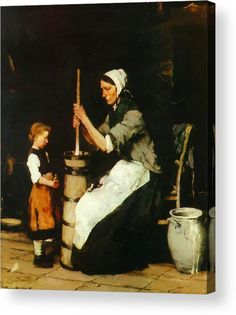 Churning Woman 1873 Acrylic Print by Munkacsy Mihaly. All acrylic prints are professionally printed, packaged, and shipped within 3 - 4 business days and delivered ready-to-hang on your wall. Famous Artists, Great Artists, Victor Vasarely, Beauty In Art, Art Database, Female Art, Find Art, Photo Art, Giclee Print