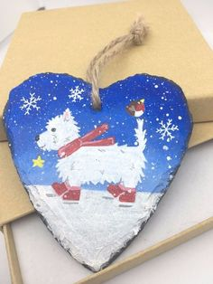West Highland Terrier - Westie - Slate Hanger - Hand Painted - Decoration