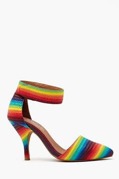 Site is called NastyGal for shoes and they have some cool stuff. This is the Solitaire Pump - Rainbow... rainbow leather pumps featuring a pointed toe and woven embossed detailing. Velcro ankle strap, genuine leather lining with cushioned insole. Looks super cute with a tight dress and clear shades! By Jeffrey Campbell. WANT!