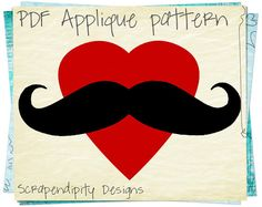 Mustache applique design mustache applique template mustache