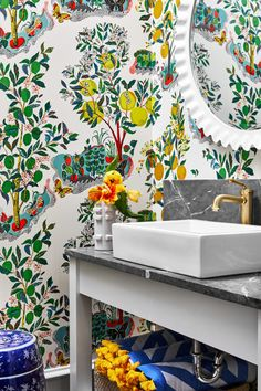 Summer is here and that means pool time 🏊 ! Our client wanted personality in their pool bath and this spunky wallpaper really delivered! Bathroom Wallpaper, Print Wallpaper, Caitlin Wilson Design, Citrus Garden, Summer Is Here, Park Homes, Print Patterns, House Styles, Pretty