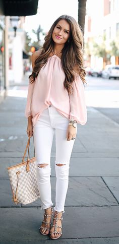 Off-the-shoulder blouse in pink or white