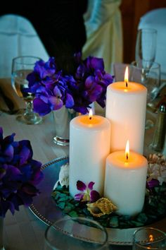 Candle centerpiece with hydrangeas and seashells