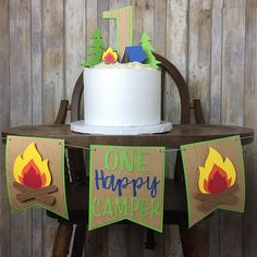 "20 Accent Colors To Choose From! Campfire ""one"" banner & cake toppers. High chair, party decor. Perfect for your happy campers 1st birthday."
