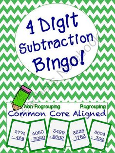 4-Digit Subtraction Bingo Regrouping & Non-Regrouping Aligned to Common Core from Bless the Little Orange Room on TeachersNotebook.com -  (34 pages)  - A fun bingo game that requires little to no prep for four digit subtraction!