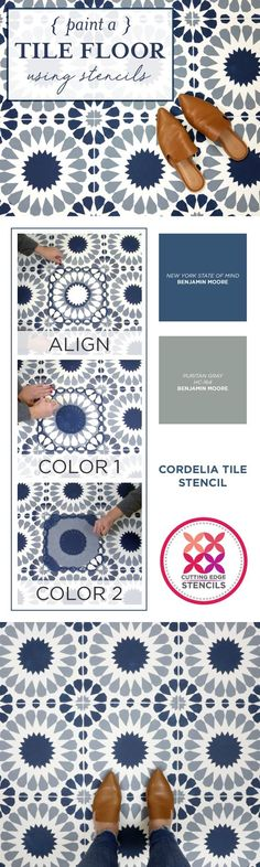 Cutting Edge Stencils shares how to stencil a tile floor using the Cordelia Tile Stencil in Benjamin Moore Blue and Gray. http://www.cuttingedgestencils.com/cordelia-tile-stencil-moroccan-design-cement-tiles.html