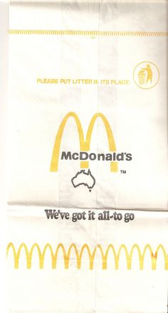 1970s Mcdonald's Australia takeaway bag In honor of Australia Day, I decided to pull some Australia-themed items out of my collection to upload.   Here's a late 70s/early 80s takeaway bag from McDonald's restaurants in Australia.