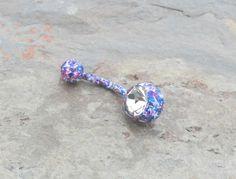 Blue Splatter Paint Belly Button Ring Barbell by MidnightsMojo