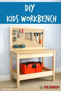 Get free plans to this easy build.  This DIY Kids Workbench will have your little builders working in style!