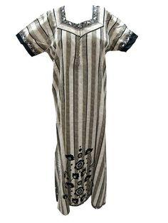 Sleepwear Nightgown Maxi Cotton Dress Grey Black Boho Gypsy Kaftan