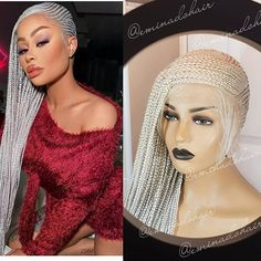 335 Likes, 11 Comments - Eminado Hair Braids Wig, Box Braids, Lace Front Wigs, Lace Wigs, Wig Making, Platinum Blonde, Braid Styles, Human Hair Wigs, Wig Hairstyles