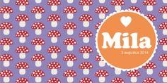 Geboortekaartje paddenstoel met cirkel | birth announcement mushroom | MEISenMANNEKE | retro vintage geboortekaartje met een patroon van paddenstoelen.