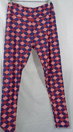 LuLaRoe Tall & Curvy T&C Diamonds Red White Blue Leggings NWOT #LulaRoe