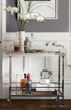 """Check out our website for additional relevant information on """"gold bar cart decor"""". It is actually a superb location to find out more. Silver Bar Cart, Bar Cart Decor, Chic Desk, Interior Decorating, Interior Design, Design Design, Design Trends, Bar Furniture, Plywood Furniture"""