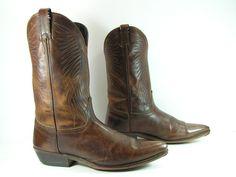 vintage cowboy boots mens 10 D brown Laredo by vintagecowboyboots
