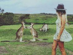 Girl in floral dress and a Kangaroo Australian Beach, Australian Fashion, Visit Australia, Australia Travel, Scuba Diving Australia, Surf Style, Where To Go, Sustainable Fashion, Kangaroo