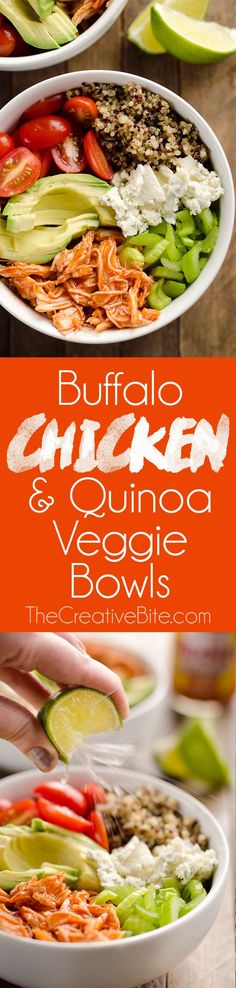 Buffalo Chicken & Quinoa Veggie Bowls are a light and healthy dinner recipe ready in just 10 minutes! They are loaded with wholesome vegetables and grains, shredded chicken tossed in spicy buffalo sauce and bleu cheese crumbles for amazing flavor! #Health