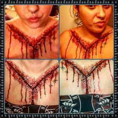 Did an autopsy incision using syn Wax and liquid latex. I'm very pleased with the outcome Halloween Latex Makeup, Clown Makeup, Sfx Makeup, Face Makeup, Halloween Items, Halloween Make Up, Scary Halloween, Halloween Decorations, Halloween Costumes