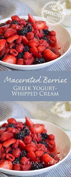 Macerated Berries with Greek Yogurt Whipped Cream